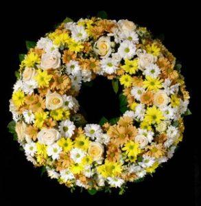 Blumenladen Augsburg - Trauerkranz gelb /weiß von Blumen Flaschka
